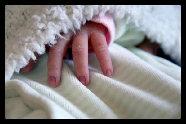 Nina's hand......