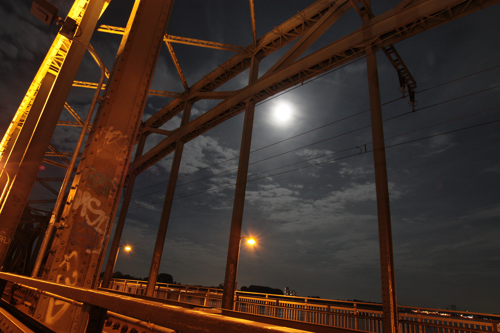 Nochmal Südbrücke bei Nacht und Vollmond