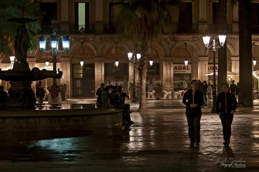 Nocturno; Plaza real Barcelona