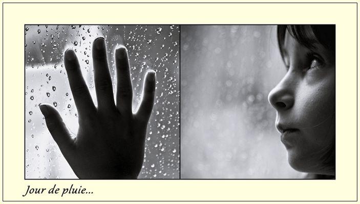 Noélie regarde la pluie...