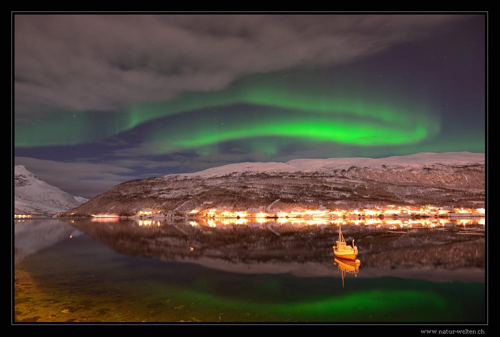 Nordlicht am Fjord