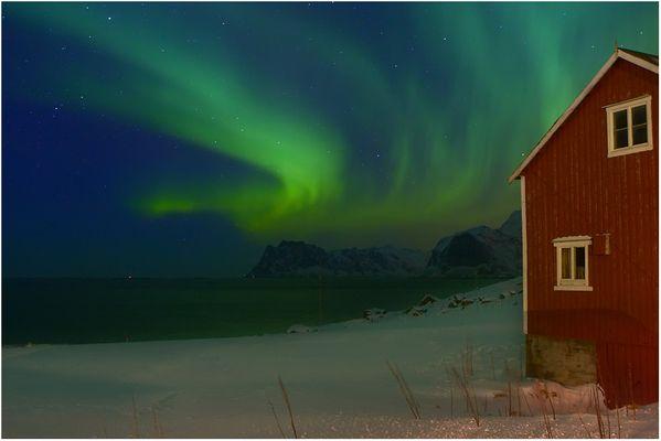 Nordlicht am Myrland-Strand
