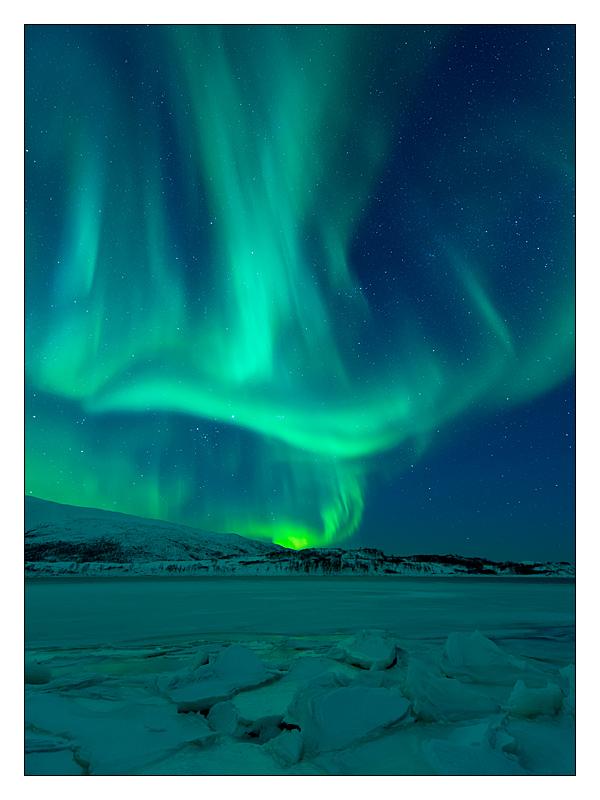 Nordlicht, Skarsfjord, Tromsö, Norwegen