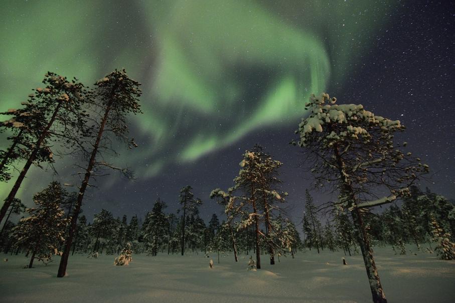 Nordlicht über Lappland, im Februar 2013