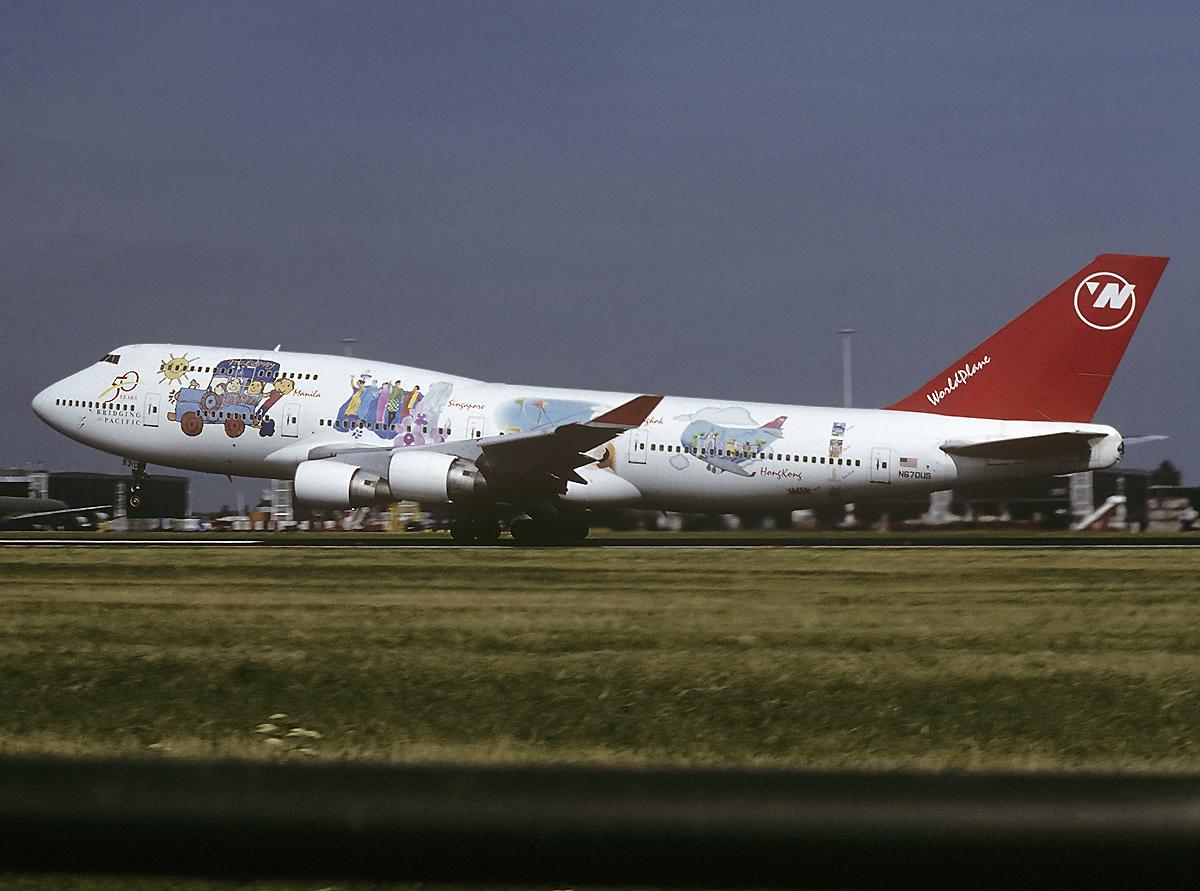 """Northwest´s Boeing 747-451 """"World Plane"""" 1998 in Amsterdam"""
