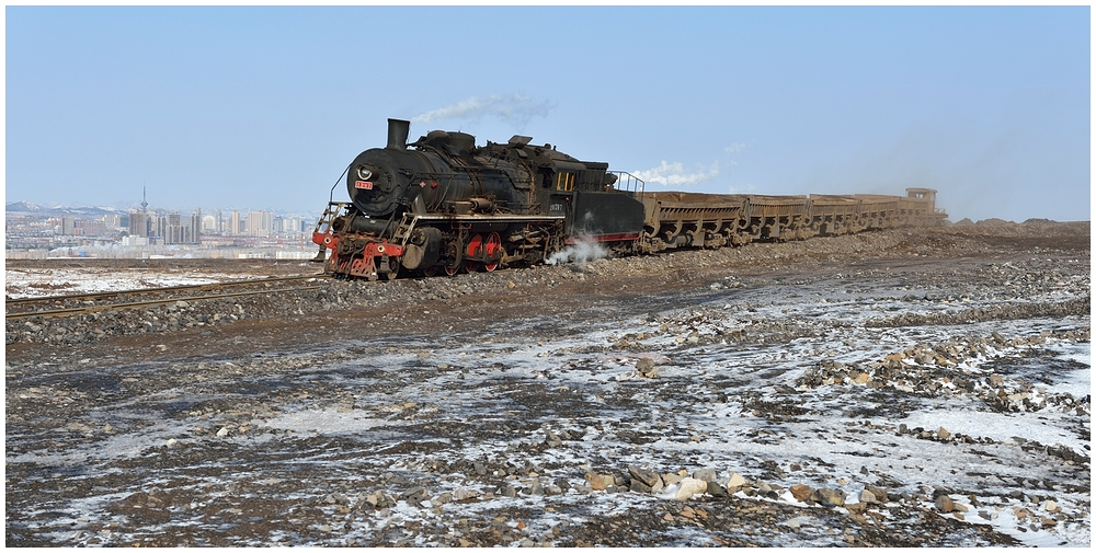 Novemberdampf in Nordchina  -  Auf dem Abraumberg VIII