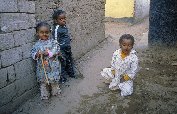 "Nubian  kids ""playing"" in  the  alley"