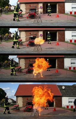 nur eine tasse wasser in brennendes Öl