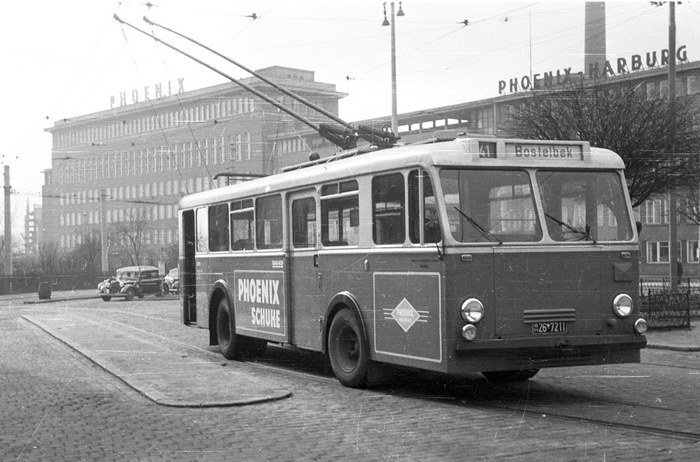 o bus hamburg harburg ca 1954 foto bild bus nahverkehr bus verkehr fahrzeuge. Black Bedroom Furniture Sets. Home Design Ideas