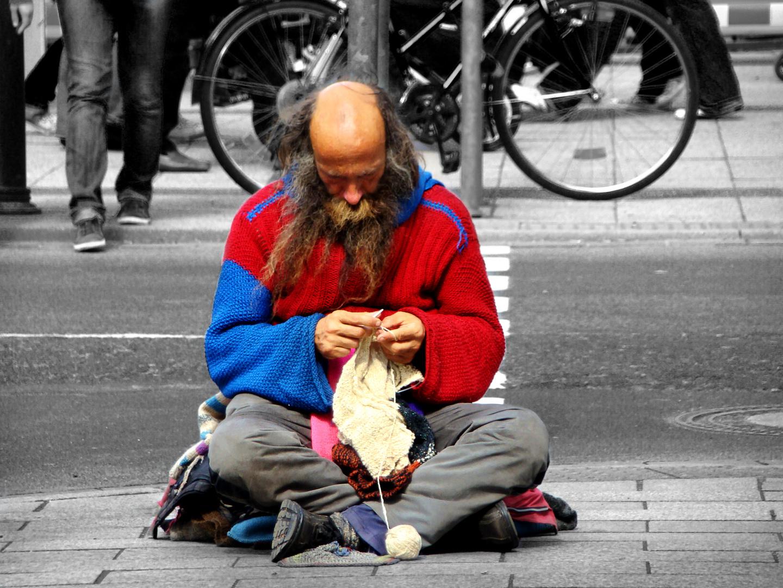Obdachlos bei der Arbeit