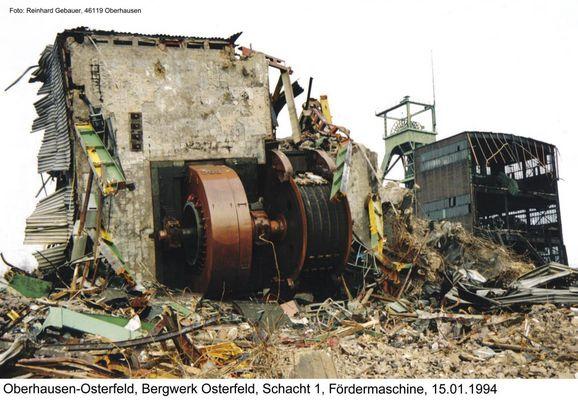Oberhausen-Osterfeld, Zeche Osterfeld, Schacht 1, Fördermaschine, 1994