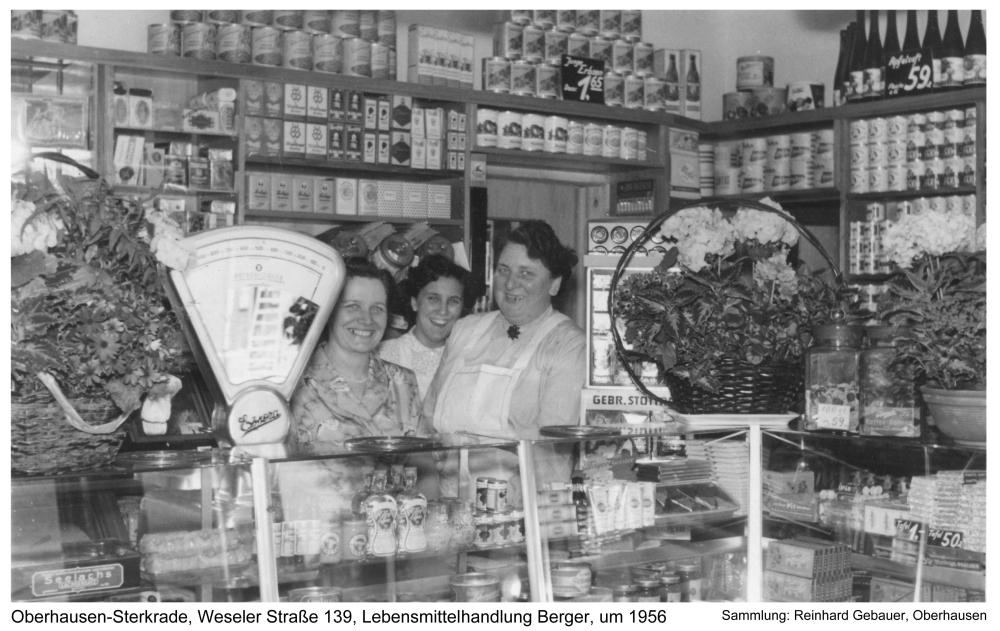 Oberhausen-Sterkrade, Weseler Straße 139, Lebensmittelhandlung Berger, um 1956