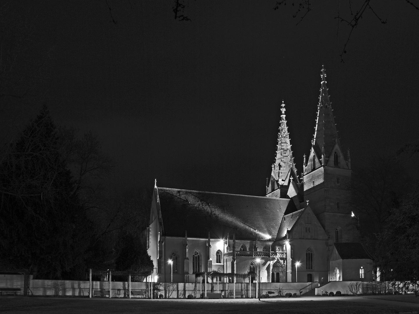 Oberhofenkirche Göppingen bei Nacht