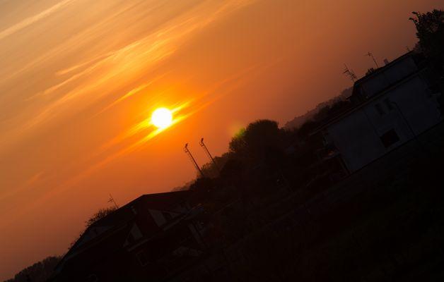 oblique sunset