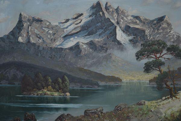 Ölgemälde von mir gemalt - Alpensee im Sommer - Serien-Auftragsarbeit für ein Kaufhaus im Jahre 1980