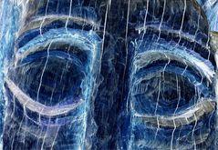 Ojos de madera azul