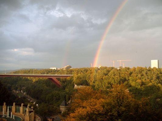 Oktober, Luxemburg, Regenbogen, Charlottenbrücke