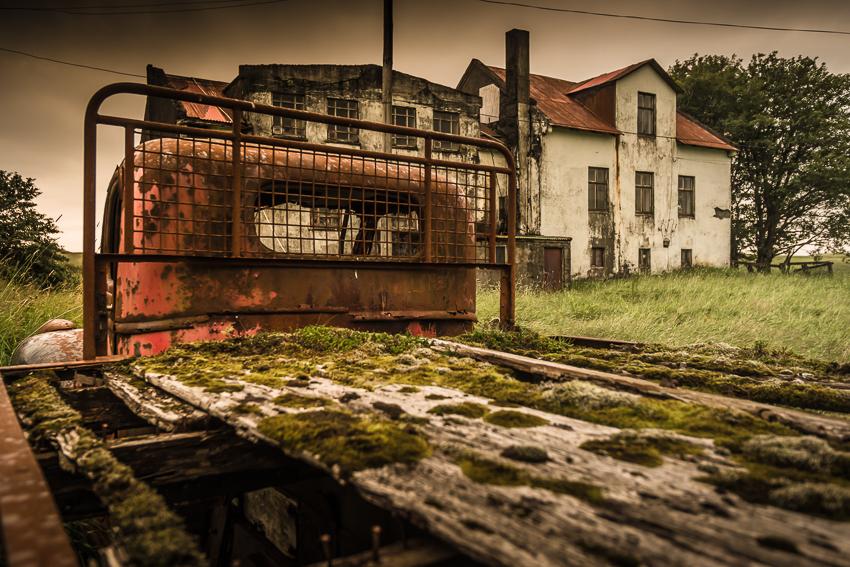 Old car in landscape