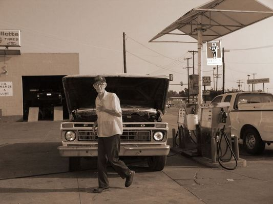 Old Man at Old Gas Station