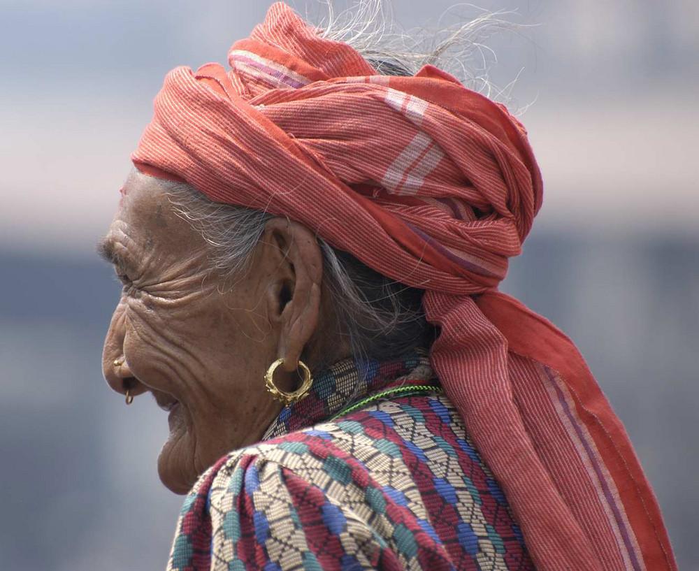 Old Nepali Woman At Pashupatinath Temple, Kathmandu, Nepal