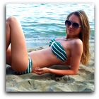 Olga en la playa.