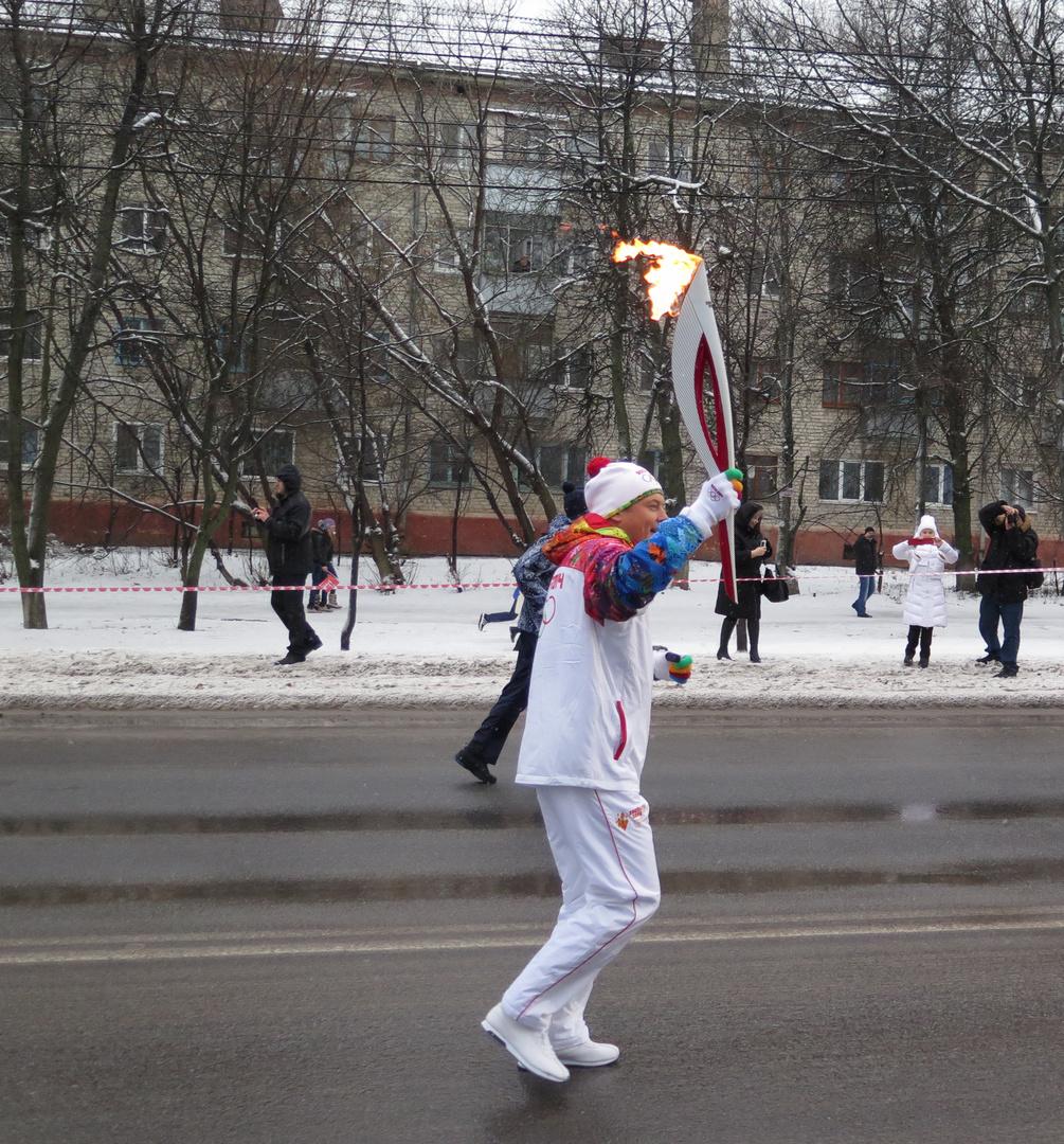 Olympischen Fackellauf für die Olympischen Winterspiele 2014 . Kursk