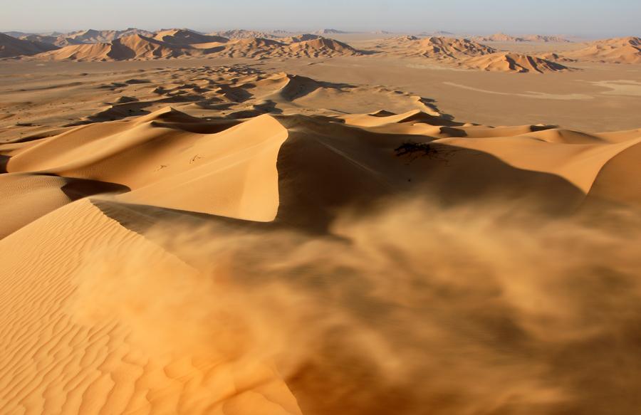 """Oman 2008 -3 Wüste """"Rub al-Khali"""" Sturm am Dünengrat"""