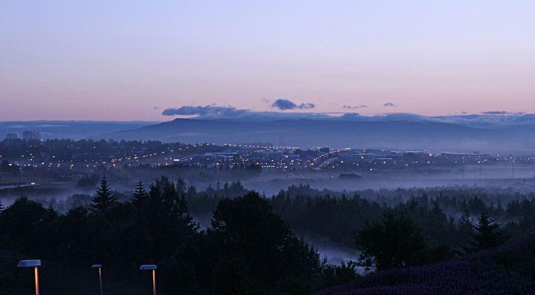 One foggy morning in Reykjavik Iceland