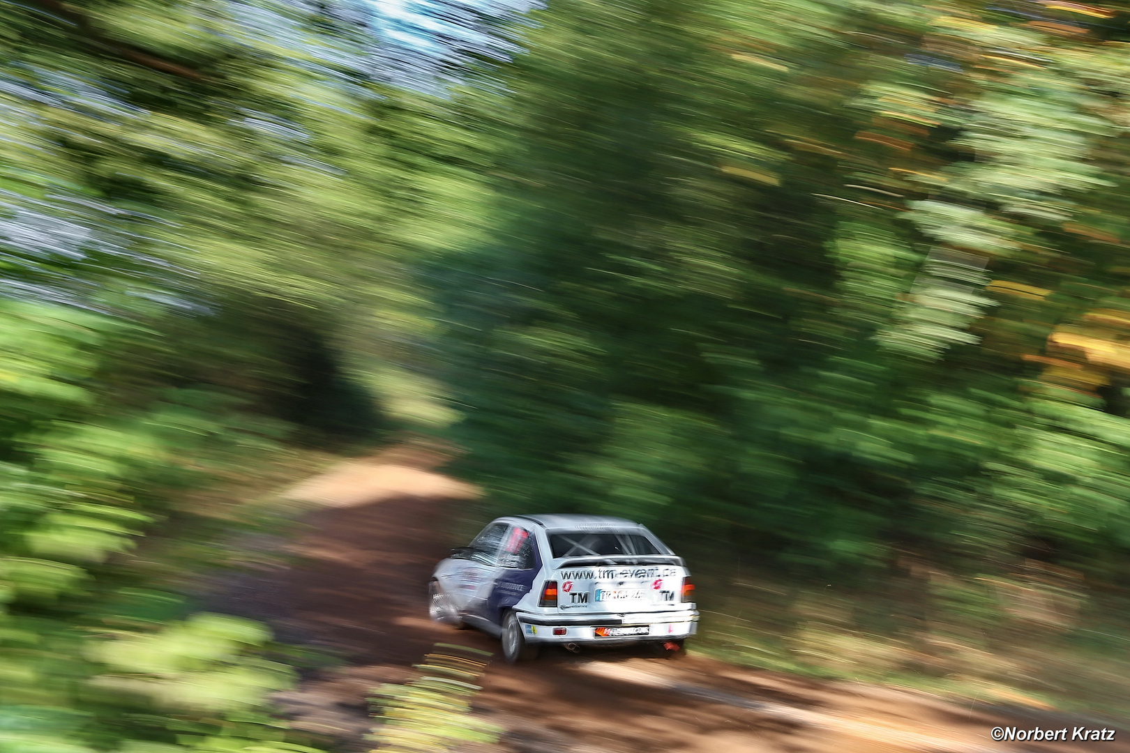 Opel Kadett is heading through the woods near Wahlen at the Saarlandrallye 2012