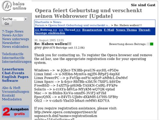 Opera hat 10 jährigen Burseltach :)