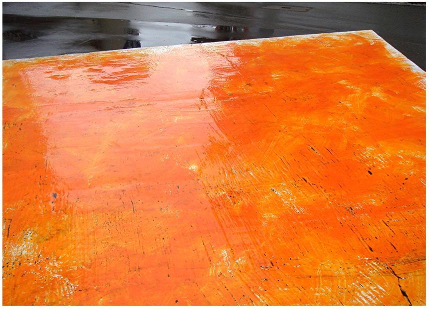 orange im regen