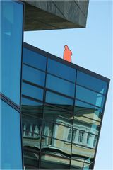orange man on the roof