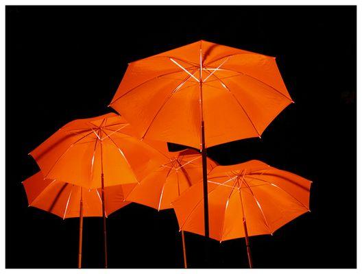 Orange Schirme im Park
