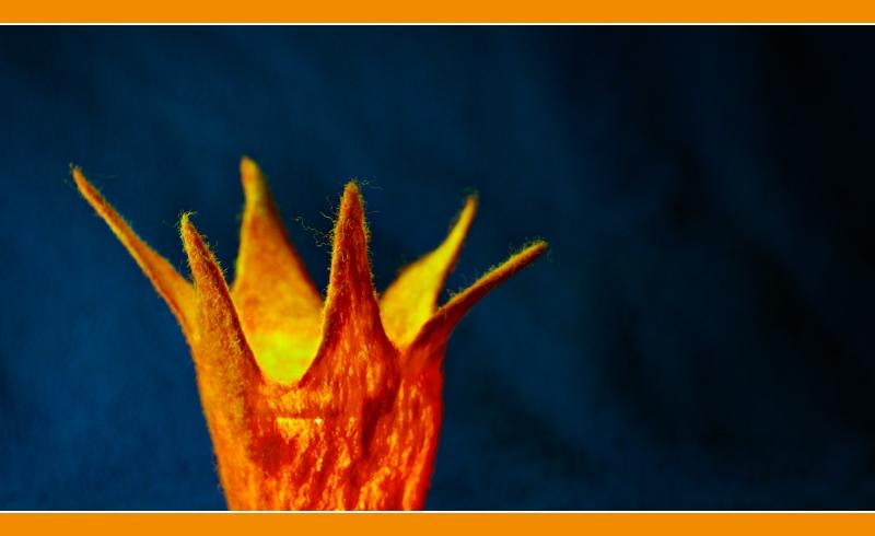 orange/blau in Filz