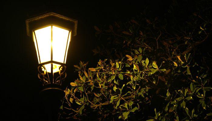 Orangenlicht bei Nacht