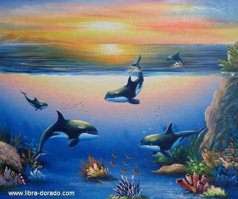 Orcas im Sonnenuntergang (Handgemaltes Ölgemälde)