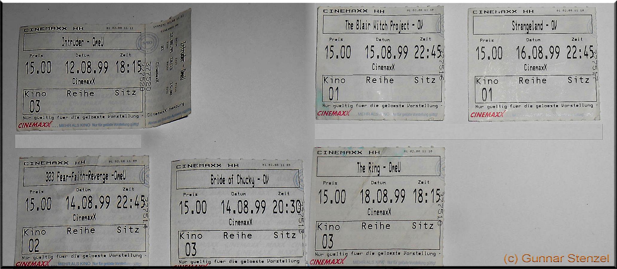 Originale Kinokarten FFF Hamburg 1999