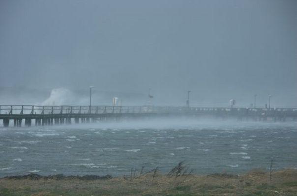 Orkan im Hafen Gelting Wackerballig