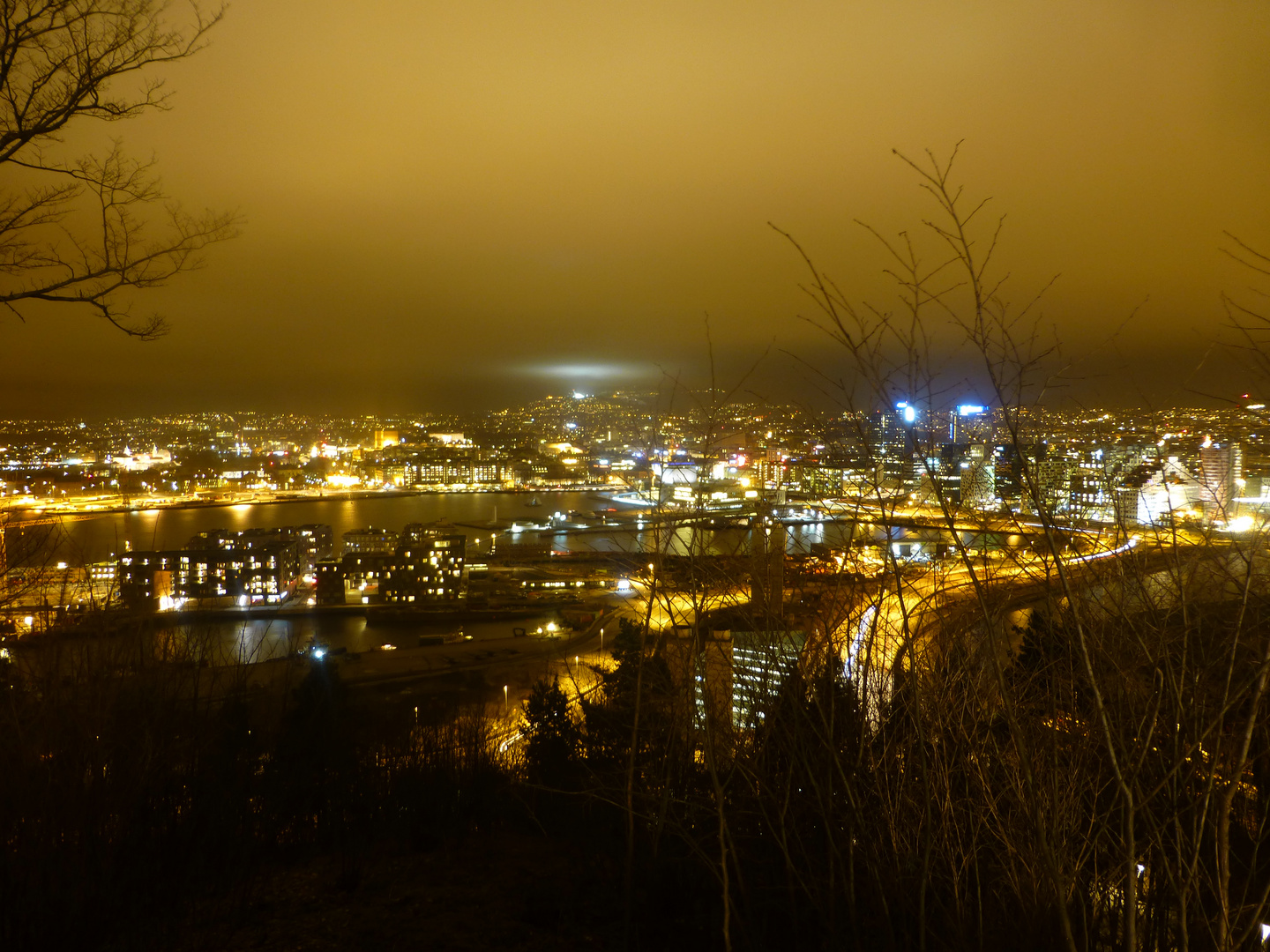 Oslo by night with Holmenkollen in the background