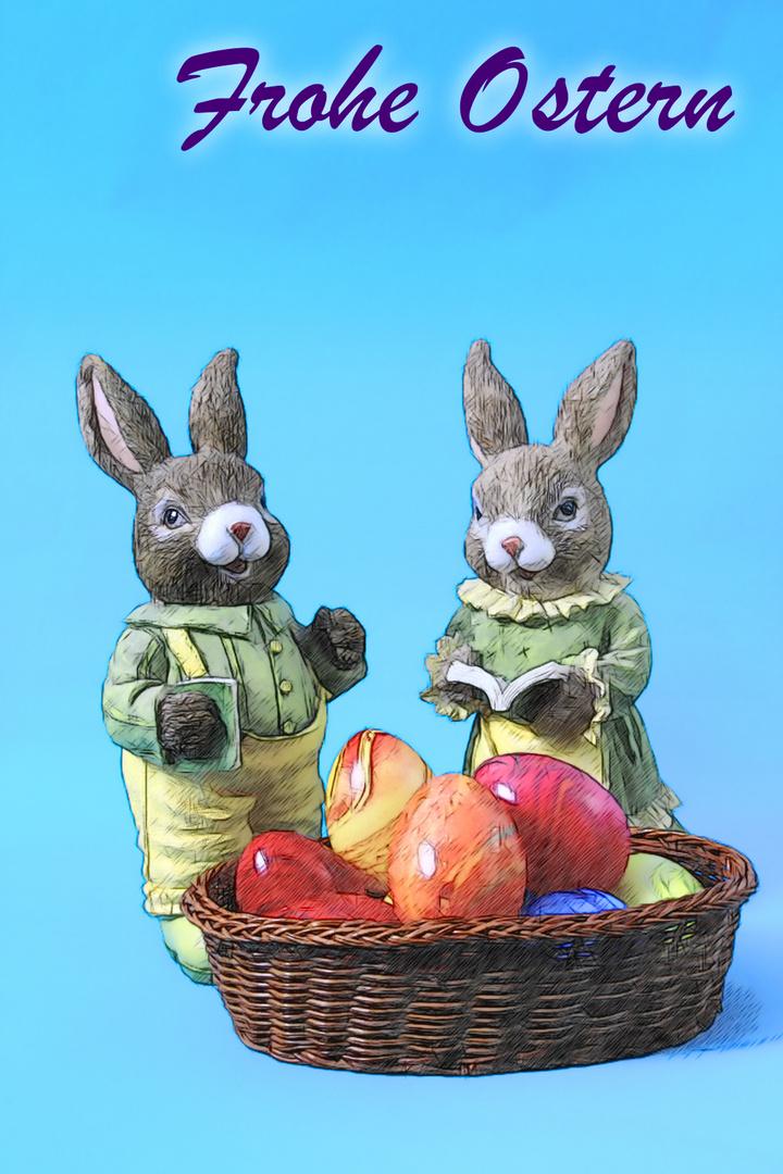Osterhasen Pärchen Mann & Frau mit Ostereiern