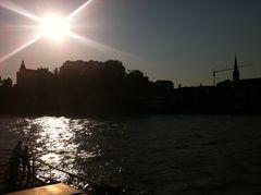 Ottensheim an der Donau, Sonnenuntergang nach dem Hochwasser