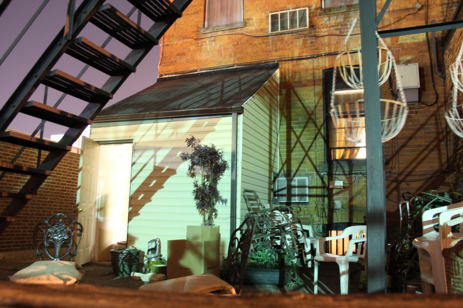 Our Back Yard of the Hostel at Night