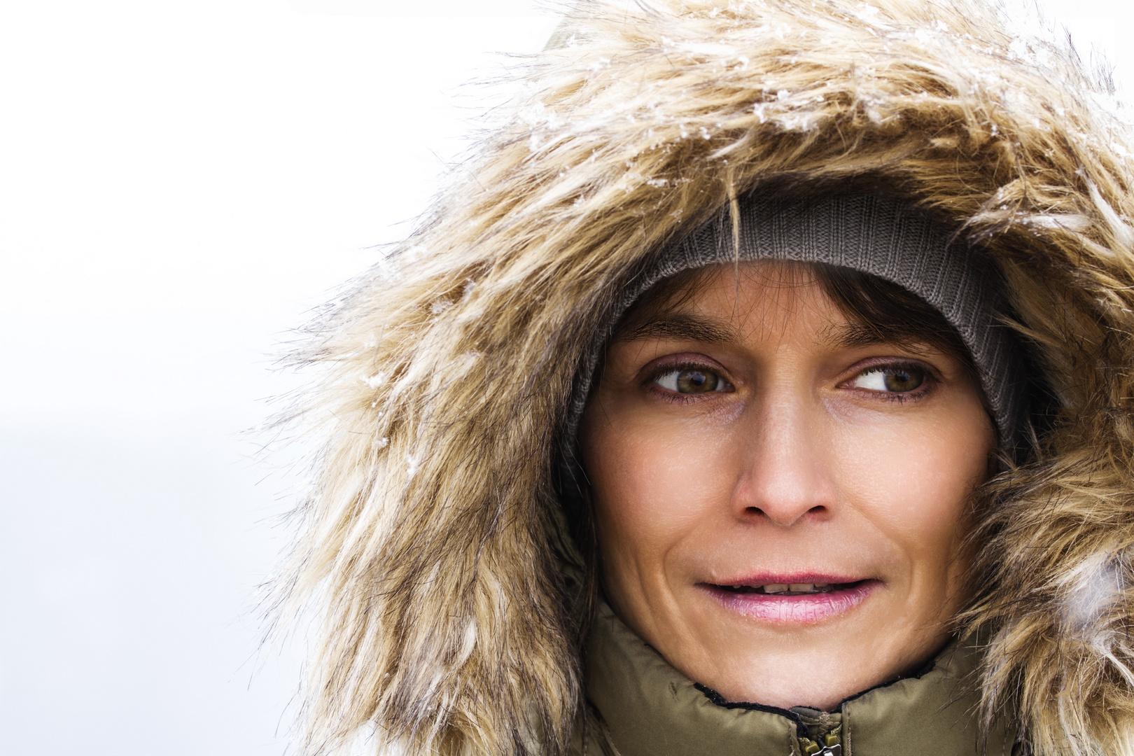 Outdoor-Portrait im Schneegestöber