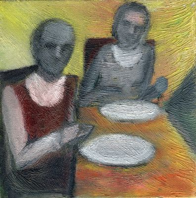 Paar vor leeren Tellern