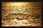 Paddeln im goldenen Sonnenuntergang
