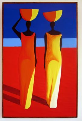Painting of two African women