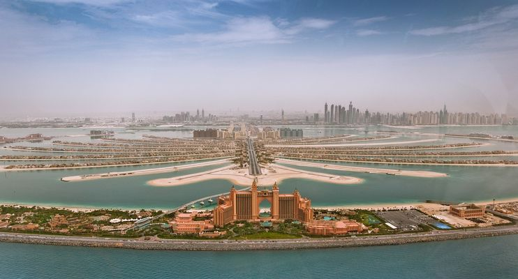 Palm Jumeirah Dubai aus dem Heli