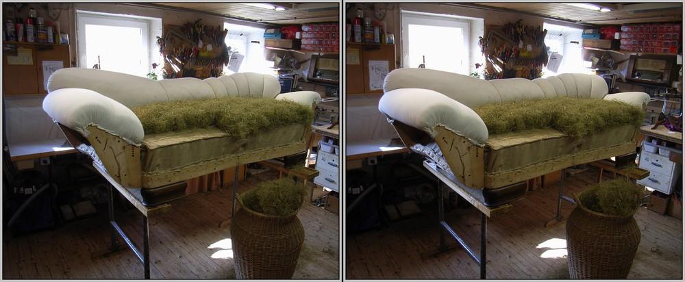 Palmblätter im Sofa 3D