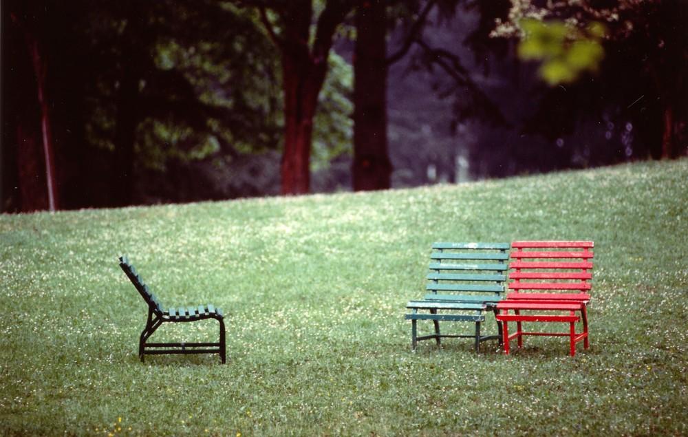 panchine sole .. ma vive, nel parco di Montecatini