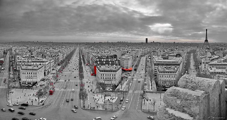 PANNO DE 12 PHOTOS DE LA VILLE DE PARIS PRISE DE L' ARC DE TRIOMPHE